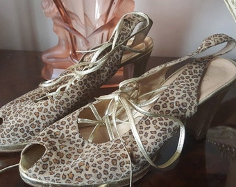 Vintage Style Hobbs Leopard and Gold sandals
