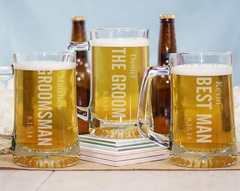 Engraved Wedding Beer Glass- Groomsmen Glass With Name - Bridesmaid Glass With Name