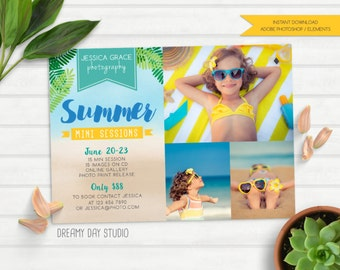 summer mini session, summer mini, photography template, mini sessions for photography, beach, flyer, brochure, photoshop, instant download