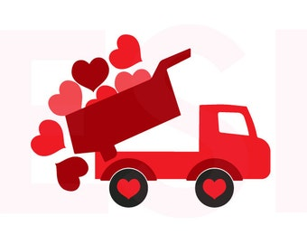 Valentine svg, Truck with falling hearts, SVG, DXF, EPS,  for use with Silhouette Cameo and Cricut Explore. Truck svg, Heart svg.