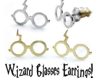 Dainty Wizard Glasses Stud Earrings With Lightning Bolt Scar Detail ~ Choose 18k Gold or Silver Plated ~ Quirky Birthday Present/Gift Idea