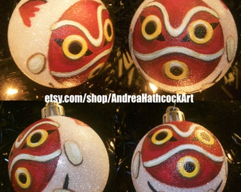 Princess Mononoke Mask Miyazaki Inspired Studio Ghibli Anime Shatterproof Hand-Painted Christmas Ornament! Name/Year add on Available!