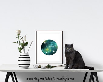 Cancer Zodiac Constellation, Horoscope, Galaxy, Space, Printable Art, Wall Art, Digital Print, Nursery Art, Printables, Instant Download