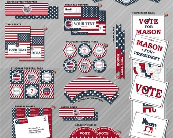 Election party, Election party supplies, Election party decor, Election birthday decorations, Patriotic party, Independence day