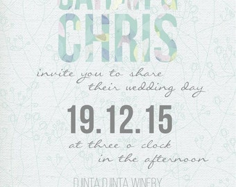 50 Beach Themed Shabby Chic Floral Watercolour Wedding Invitations!