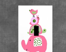 pink girls bedroom wall art home Decor LIGHT SWITCH PLATE Cover classic childrens animals elephant snail turtle,bird,nursery playroom baby