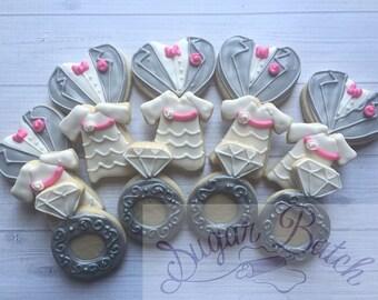 2 Dozen Mini Wedding Party Decorated Cookies Set