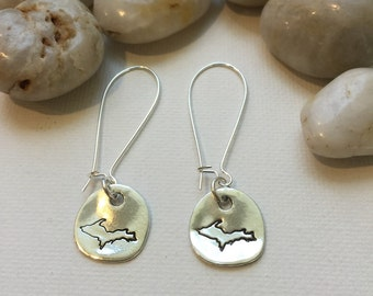 Upper Peninsula Michigan Earrings, UP, Yooper (LL71)