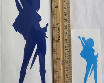 Vinyl Gamer RPG Car Window Decal Sticker Female Ranger Hunter with Bow and Sword Silhouette Role Playing Game Gaming D&D Dungeons Dragons