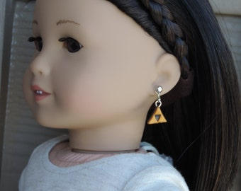 Legend of Zelda Triforce Earrings for American Girl Dolls and other 18 inch dolls