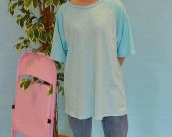 Pastel blue raglan