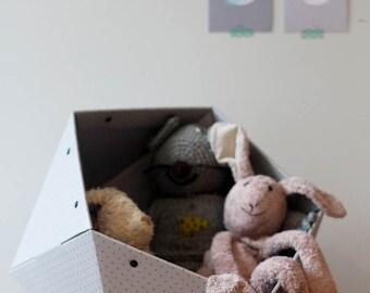 GeoStorage, Geometric Storage Bin, Grey Toy Storage, Cardboard Toy Box, Grey Storage Box