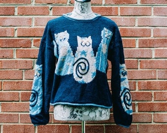 Vintage 80s Cat Pullover Sweater