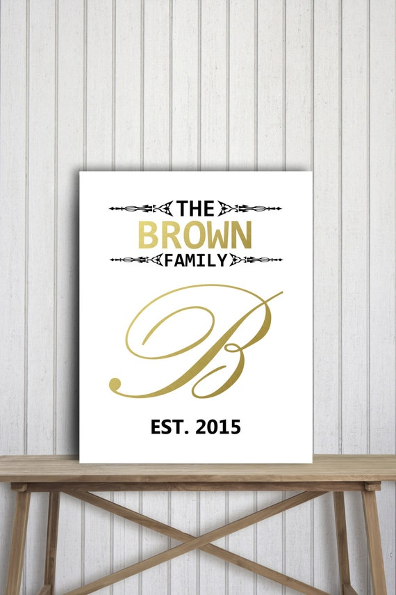 Personalized Wall Decor Letters : Personalized family name wall art gold and black decor letter