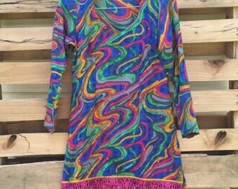 Vintage Mod 60s 70s Retro Long Sleeve Go Go Dress