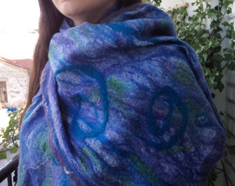 "Nuno felted scarf/wrap ""Thetis"" BlueLavender Wool OOAK art to wear"