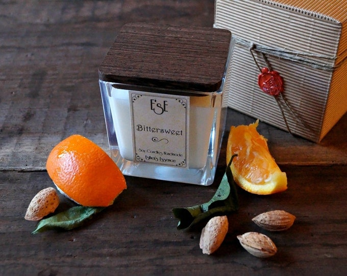 Soy Candle, Sweet Orange Almond, 7oz / 4oz, House warming present, Romantic Glass jar, Handmade, Gift for Best friend, For Mom, Bio