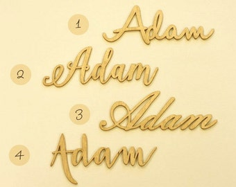 Laser cut gold place names made from plywood - set of 10 table names