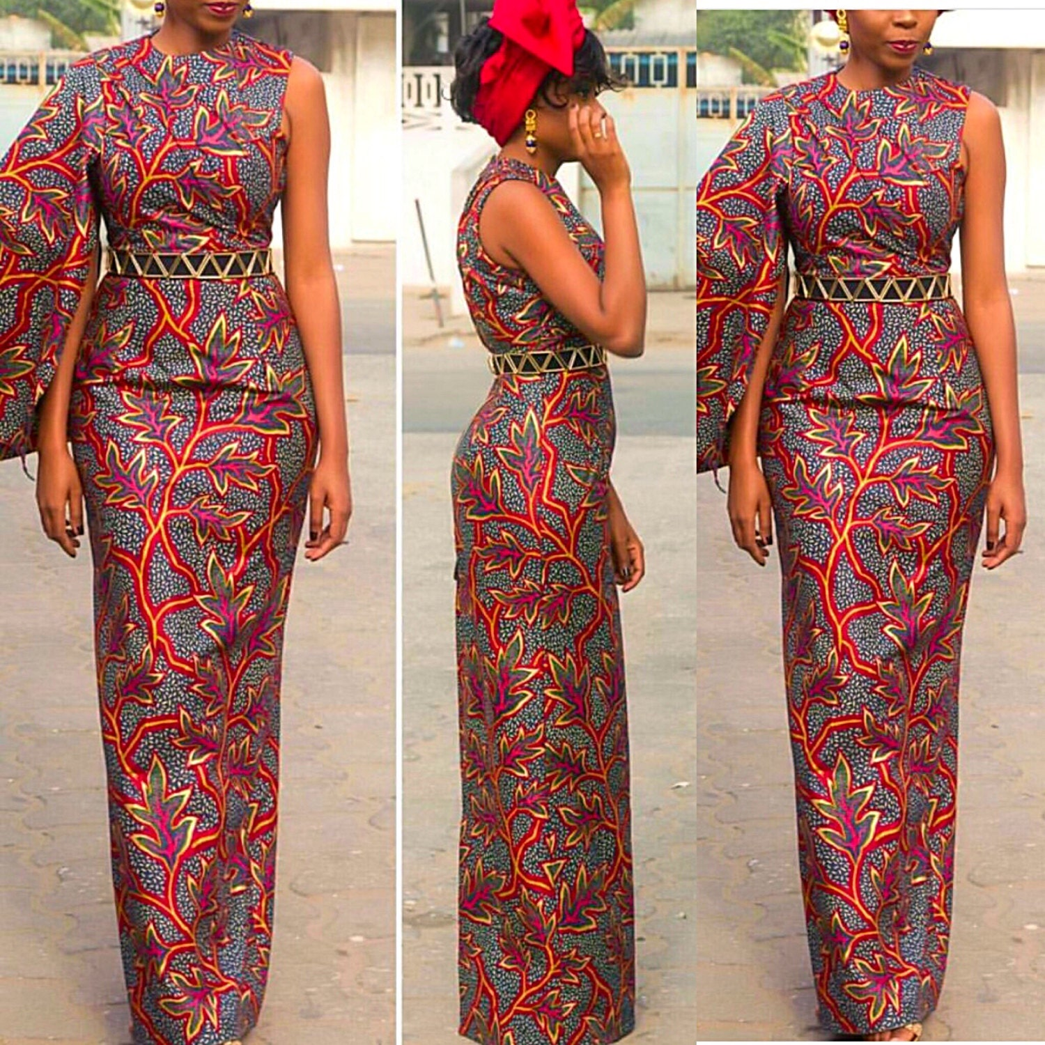 African print long pencil dress african by cococremecouturier for Styles de robes africaines pour mariage