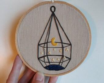 Hand Embroidered Linen Hoop Art - Terrarium Moon Stars