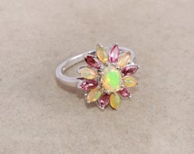 Ethiopian opal, Pink tourmaline 9255 sterling silver ring jewelry - Multicolor opal ring - Prong set flower ring - October birthstone ring