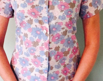 Vintage Button-Up Flowered Shirt