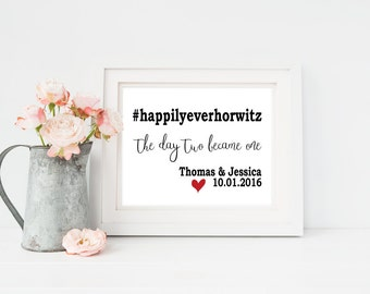 Wedding Hashtag Sign | Custom Wedding Hashtag | First Anniversary Gift for Her | Personalized Wedding Gift | Custom Wedding Gift