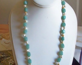 Handmade & Gorgeous Amazonite SET with Freshwater Pearls, Crystals
