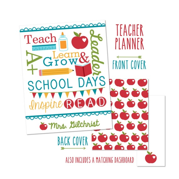 Personalized Teacher Planner Cover -Choose from Cover only or Cover Set -Fits Happy Planner, BIG Happy Planner, or Erin Condren Planners