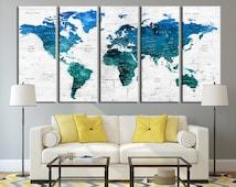 Push Pin Travel World Map Wall Art Canvas Print - Push Pin Travel Map , Push Pin World Map Art, Blue Map, Turquoise World Map