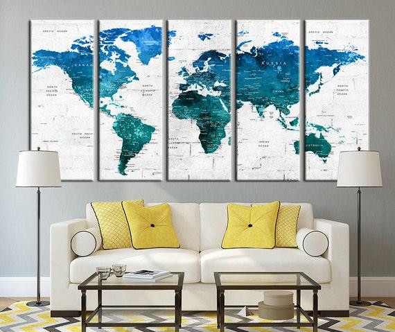 Push Pin Travel World Map Wall Art Canvas By Extralargewallart