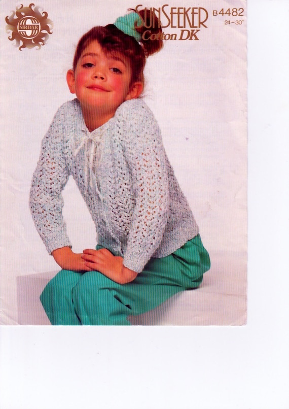 Knitting Pattern Cotton Cardigan : Vintage Knitting Pattern pdf. Childrens Cardigan Cotton
