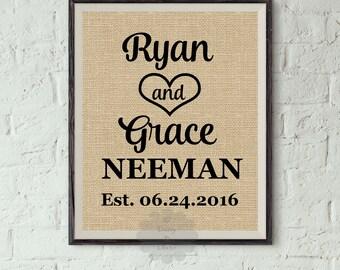Wedding Burlap print - Mr and Mrs sign - wedding gift - Personalized gift for newlyweds - housewarming gift- faux burlap - established sign