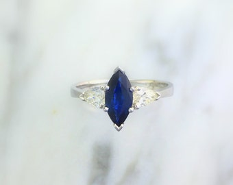 Marquise Sapphire & Pear Accent Diamond Three (3) Stone Engagement Ring - 14K White Gold - Affordable and Alternative Engagement Ring