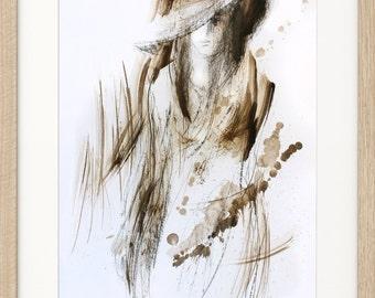 Woman sketch, Giclee art print, Figurative artwork, Charcoal drawing, Wall decor print, Graphic art print, Modern Wall art, Female Figure