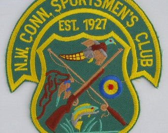 N.W.Conn. Sportsmen's Club Sew On Patch, Target Shooting Sew-On Patch, Embroidered Applique Patch, Vintage Sports Patch, Embroidered Patch