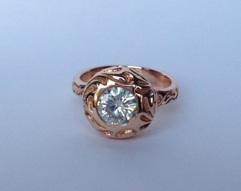 14k Rose Gold Renaissance Style Moissanite Ring