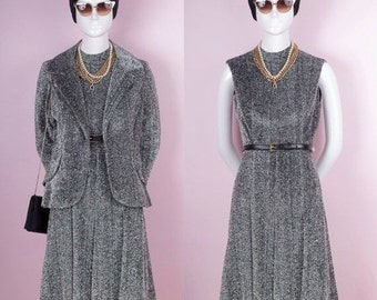 60s Sparkly Metallic Silver Tinsel Dress & Jacket