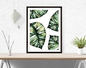 Monstera Leaf Print // Print, Monstera Prints, Banana Leaf, Watercolour, Green, Wall Print, Leaf, Botanical, Foilage