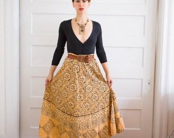 Vintage 1970's Indian Cotton Wrap Maxi Skirt Sz-S/M