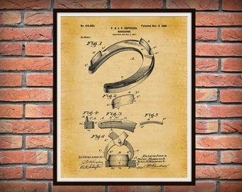 1898 Horseshoe Patent Print - Art Print - Good Luck Horseshoe - Equine Art Poster -  Cowboy Art - Blacksmith Art - Farrier Art