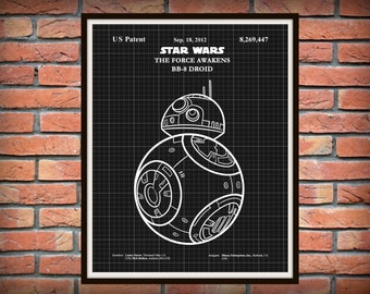 2015 Star Wars BB-8 Droid Patent from The Force Awakens Movie - Art Print - Star Wars BB8 Movie Poster - Star Wars Collector Item
