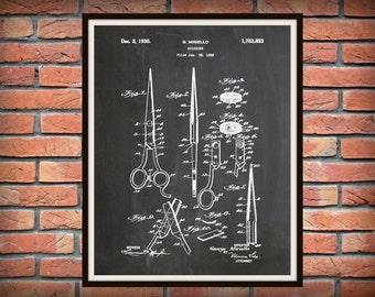 Patent 1930 Scissors - Art Print - Poster - Barber Shop Shears -Hair Salon Scissor - Hairdresser Art - Beautician Art - Beauty Shop Wall Art