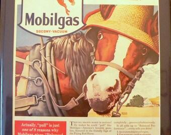 1940 Mobilgas Ad Matted Vintage Print Petroliana