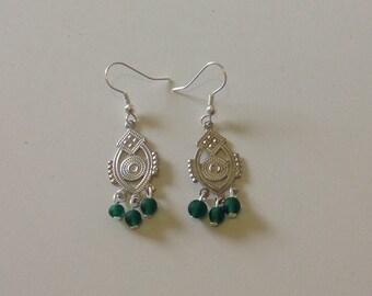 Boho Style Indian Glass Emerald Green Silver Beaded Chandelier Dangly Earrings