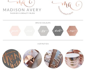 Watercolor Logo Design, Custom Logo, Rose Gold Photography Branding Kit, Premade branding package, Stamp watermark Calligraphy, 020