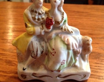 Bisque Colonial Couple on Bench Figurine Occupied Japan