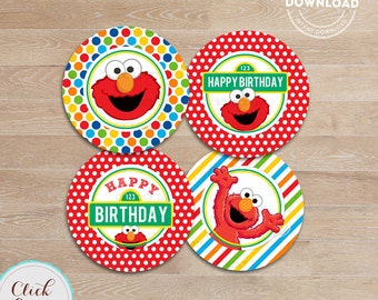 Elmo Cupcake Toppers, Sesame Street Printable cake toppers, 1st Birthday party decorations, Party supplies, INSTANT Download