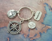 Travel Keychain, Travelling Accessory, Personalised Keyring, Travel Bag Charm, Wanderlust Keychain, Earth Keyring, Compass Accessory, Gift