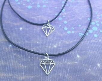 Diamond Choker, Leather Necklace, Tattoo Jewelry, Gem Charm, Choker Necklace, Short Necklace, Tattoo Necklace, Cute Choker, Leather Choker